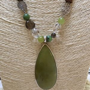 SILPADA Sterling Green Serpentine Necklace Leather
